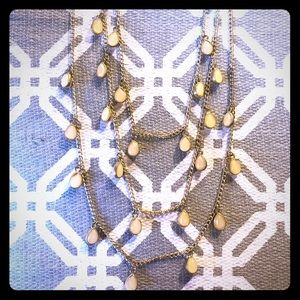 Three-Strand Cream and Gold Necklace